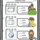 Use this geometry worksheet on 3-Dimensional Solids to assess student understanding of how to identify a shape by its number of edges, vertices, an...