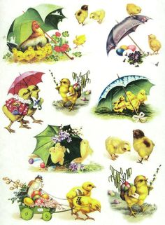 Ricepaper/Decoupage paper, Scrapbooking Sheets Vintage Happy Easter Chicks