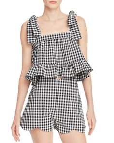 Beautiful Paper London - Emely Gingham Ruffled Crop Top Womens fashion Tops from top store Crop Tops Online, Black Crop Tops, Gingham, Rompers, Plaid, London, Black And White, Paper, My Style