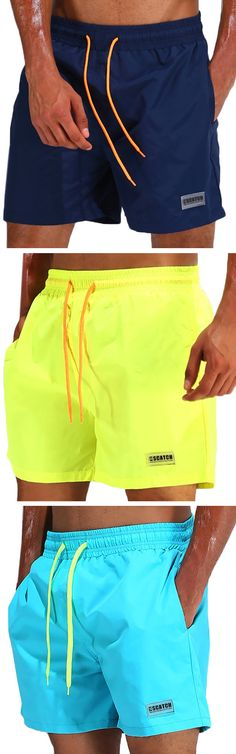 ESCATCH Loose Water Repellent Thin Sport Drawstring Solid Color Trunk Beach Shorts for Men