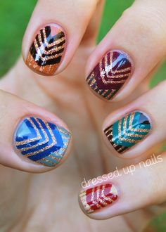Chevron Nails- like the thumb nail color combo the best