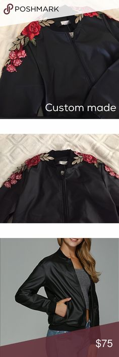 🆕Rose shoulder patch bomber jacket🌹 Brand new and unused black matte bomber jacket with rose embroidered patches on the shoulders. Price Firm❣️One size❣️Will best fit XXS-M depending on how you like your jacket to fit. Patches will be sewed on by me and can be set in other places as per request. Please allow 1-2 business days for shipment as I will make after you place your order. I would love to finish this look and ship it off to you as soon as possible!Promise you'll love it!🌹 Jackets…