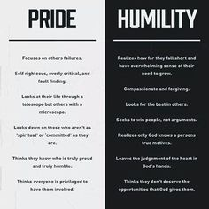 Pride vs. Humility- something to look at and think about during Lent