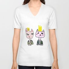 Cats Couple Unisex V-Neck by azima Cat Couple, Buy A Cat, V Neck T Shirt, T Shirts For Women, Unisex, Couples, Cats, Stuff To Buy, Clothes