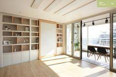 ° THE_K Ulsan, Apartment Interior * Expanding your life with folding doors . Condo Decorating, Interior Decorating, Interior Design, Home Living Room, Living Spaces, Home Office Design, House Design, Bookshelf Design, Bookshelves