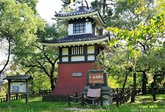 Shirasu lighthouse: Japanese Traditional Architecture, reminding of a castle tower or a Buddhist temple bell tower.
