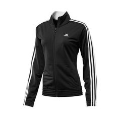 adidas 3-Stripes Jacket ($45) ❤ liked on Polyvore featuring activewear, activewear jackets, adidas sportswear, adidas, adidas activewear and track jacket