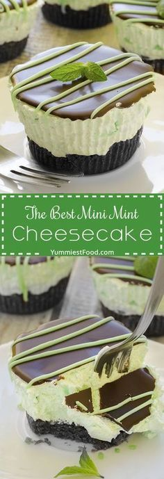 new dessert recipes, cream cheese dessert recipe, healthy desserts recipes - The Best Mini Mint Cheesecake – so easy to make, creamy and cute! Absolutely delicious, The Best Mini Mint Cheesecake with an Oreo crust and only a few ingredients! Mini Desserts, Easy Desserts, Delicious Desserts, Dessert Recipes, Yummy Food, Breakfast Recipes, Layered Desserts, Hawaiian Desserts, Mexican Desserts