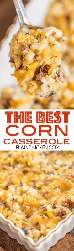 The BEST Corn Casserole - seriously delicious! Creamed corn loaded with cheddar and bacon! Can make ahead of time and refrigerate or freezer for later. Corn eggs flour sugar butter cayenne pepper cheddar cheese bacon and Ritz crackers. Corn Recipes, Side Dish Recipes, Great Recipes, Favorite Recipes, Recipies, Party Recipes, Easy Casserole Recipes, Casserole Dishes, The Best Corn Casserole Recipe