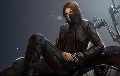 Фото обои мотоцикл, маска, пар, металлическая рука, Парень