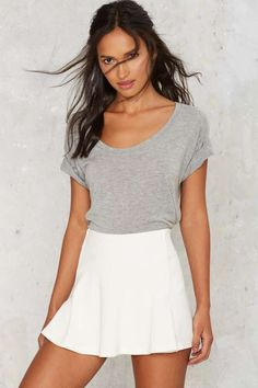 Flip Side Textured Mini Skort - White - Clothes