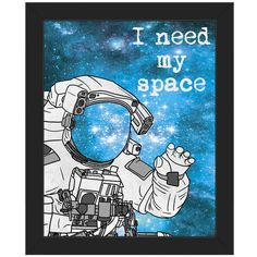 'Need My Space' Framed Graphic Art ❤ liked on Polyvore featuring home, home decor, wall art, framed wall art and graphic wall art