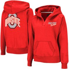 Ohio State Buckeyes Women's Heritage V-Neck Hoodie Pullover - Scarlet - $20.99