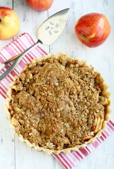 A sweet Ambrosia apple tart topped with a crunchy crumble.vegan (calls for quite a bit of buttery spread) Best Dessert Recipes, Apple Recipes, Fun Desserts, My Recipes, Holiday Recipes, Food For A Crowd, Something Sweet, Yummy Treats, Sweet Tooth