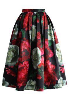 Peonies Bloom in Dark Pleated Midi Skirt - Retro, Indie and Unique Fashion