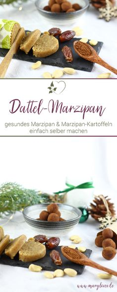 Selbstgemachtes Dattel-Marzipan & gesunde Marzipan-Kartoffeln - #marzipan #dattelmarzipan #zuckerfrei #zuckerfreiesmarzipan #marzipankartoffeln #küchengeschenk Superfood, Snacks, Cereal, Breakfast, Desserts, Advent, Paleo, Low Carb, Christmas