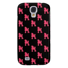Retro Poodle Pattern - Pink and Black Galaxy S4 Cover Case.  Cute, preppy, retro pink poodle dog pattern on black background.