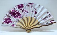 Hand made Silk Japanese Hand Fan Folding Fan Rose Red  A must during milonga