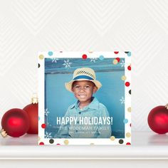 Confetti Ribbon - #Holiday Photo Cards in Tomato Red