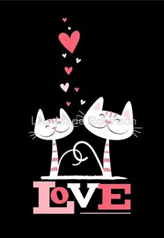 Cats in Love Cute Kitty Valentine (black inside) Greeting Cards Artwork designed by LisaMarieDesign. Made by Zazzle Greeting Cards in San Jose, CA Crazy Cat Lady, Crazy Cats, I Love Cats, Cute Cats, Image Chat, Photo Chat, Cat Quotes, All About Cats, Here Kitty Kitty