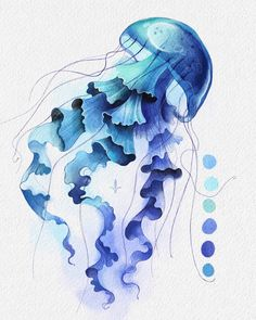 Jellyfish Drawing, Watercolor Jellyfish, Jellyfish Painting, Watercolor Sea, Watercolor Paintings, Sea Drawing, Sea Turtle Art, Sea Life Art, Dragonfly Art