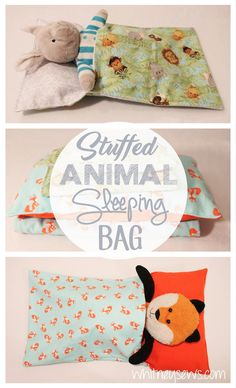 Stuffed Animal and Doll Sleeping Bags. Full FREE how to from Whitney Sews.-