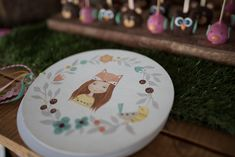 handpainted guest book #fox #baptism Christening Decorations, Greece, Fox, Hand Painted, Plates, Tableware, Greece Country, Licence Plates, Dishes