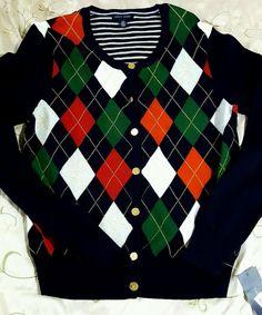 BNWT Tommy Hilfiger Argyle Button Down Sweater Size L Retail $69.50 #TommyHilfiger #buttondown