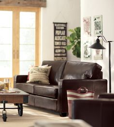 You can't go wrong with a leather sofa. HomeDecorators.com