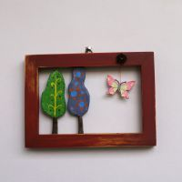 red frame with trees and butterfly Konica Minolta, Handicraft, Objects, Butterfly, Frame, Digital Camera, Red, Handmade, Home Decor