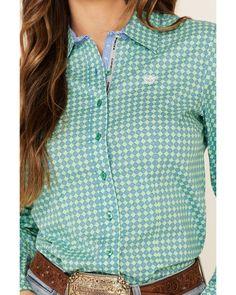 Cinch Women's Green Tile Print Button Front Long Sleeve Western Shirt , Green Country Wear, Print Button, Button Down Collar, Western Shirts, Printed Cotton, Tile, Buttons, Long Sleeve, Green