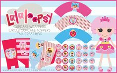 FREE lalaloopsy girl's birthday party printable pack. There is a treat box, cupcake wrappers, and circle cupcake toppers. diy