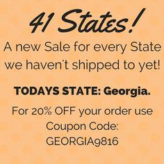 Every Day for the next 34 Days! We are going to post a different Sale for Each State we haven't shipped to! It's the perfect opportunity to get ready for Christmas! If you Know someone in Today's State please Share this post with them! My goal is to get all 50 States by the end of these 41 Days!  Day 8: Todays State is Georgia! For 20% OFF an order going to Georgia use Coupon Code GEORGIA9816 at Checkout! Offer ends at midnight tonight!  Only at loomknittedhats.etsy.com!