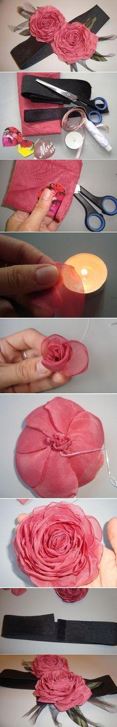 DIY Organza Rose Headband via usefuldiy.com