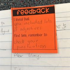 Classroom writing - A colleague recommended these FREE feedback slips from One of my goals this term is to find better ways to provide feedback and these slips have been so helpful aussieteachertribe gr 3rd Grade Classroom, School Classroom, School Teacher, Future Classroom, Classroom Ideas, 2nd Grade Teacher, Classroom Organization, Teaching Writing, Teaching Strategies