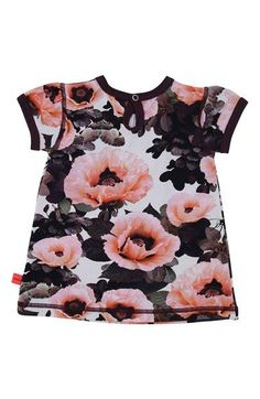 molo 'Pink Poppies' Short Sleeve Jersey Dress (Baby Girls) | Nordstrom