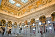 The Great Hall of the Library of Congress, the national library of the United States. Located in three buildings in Washington, D.C., it is the largest library in the world by shelf space and number of books: more than 32 million books in 470 languages, more than 61 million manuscripts and the largest rare book collection in North America.