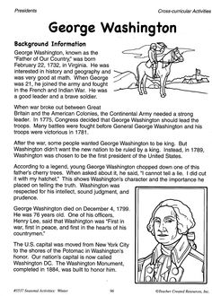 Help your students learn about George Washington with this background information from Seasonal Activities: Winter