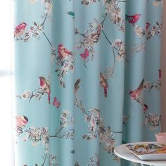 Duck Egg Beautiful Birds Thermal Pencil Pleat Curtains these curtains are so awesome Duck Egg Blue Curtains, Bird Curtains, Curtains Dunelm, Pleated Curtains, Floral Curtains, Bedroom Curtains, Teal Bathroom Accessories, Toilet Accessories, Decoration Home