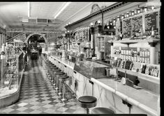 "Columbus, Indiana. ""General view of soda fountain area -- Zaharako Bros. Ice Cream Parlor, 329 Washington Street"
