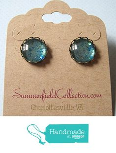 "Antiqued Gold-Tone Glitter Glass Stud Earrings 1/2"" Round Seafoam Green and Blue from Summerfield Collection http://www.amazon.com/dp/B01ADTBOWU/ref=hnd_sw_r_pi_dp_FXtLwb1SWDQE7 #handmadeatamazon"