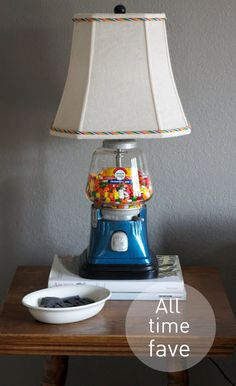 You may remember the gum machine lamp pictured above from this post . We've most enjoyed the lamp because it spits out a su. Chandeliers, Crafts To Do, Diy Crafts, Bubble Gum Machine, Gumball Machine, Cool Lighting, Industrial Lighting, Art Of Living, Antique Shops