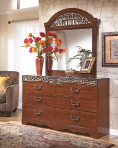 Ashley Fairbrooks Estate B105-31 Signature Design Dresser - Six drawer dresser Offers a glossy reddish/brown finish over replicated cherry grain