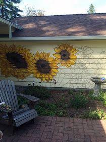 garden mural, sunflower mural, portland mural, portland muralist, floral mural portland Garden Fence Art, Garden Mural, Garden Painting, Backyard Fences, Mural Wall Art, Mural Painting, Fence Painting, Paintings, Outside Wall Art