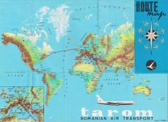 Tarom Airlines, Vintage Travel Posters, Maps, Transportation, Jet, Diagram, Ocean, Sea, Map
