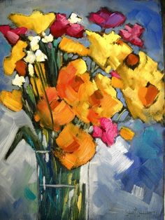 Flower Painting, Daily Painting, Sunshine Mix by Carol Schiff, 8x6 Oil, painting by artist Carol Schiff