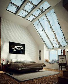 yatak odası, dekorasyon, cam tava, yatak odası dekorasyonu, yatak odası modelleri, çatı katı, çatı katı ev