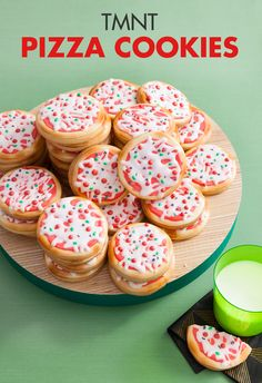 Decorate your favorite cookie to look like pizza for your kid's Ninja Turtle birthday party!  A Teenage Mutant Ninja Turtle party isn't complete without pizza: pizza pendant banners, pizza party goods, and even actual pizza! Top off your cheesy, saucy celebration with an equally scrumptious dessert–pizza cookies! This recipe is straightforward and yields impressive results: