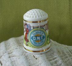 Vintage Clarks DNT Spool Cotton Porcelain Thimble by nitebyrd, $6.25