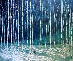 Love Daniel's work.  a painting of two small figures in a winter forest of trees